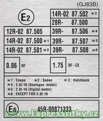 Výrobní štítek stroje