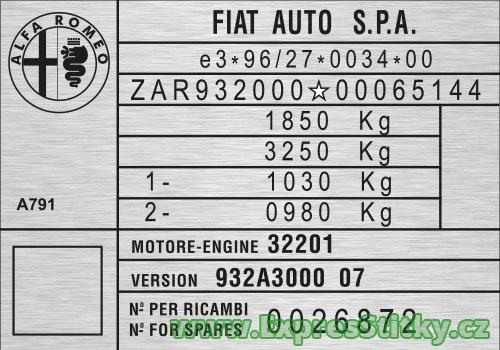 Výrobní štítek Alfa Romeo 156