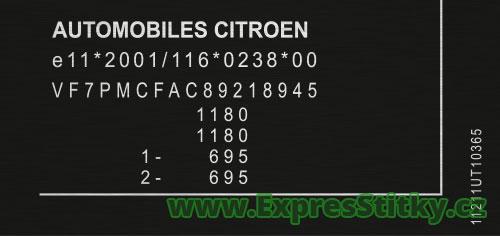 Výrobní štítek Citroën C1