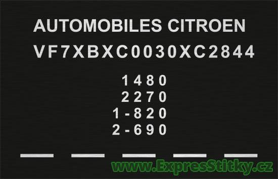Výrobní štítek Citroën DX