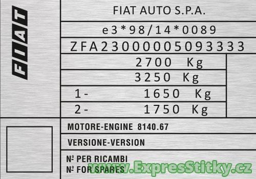 Výrobní štítek Fiat Ducato
