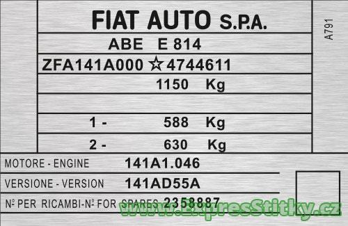 Výrobní štítek Fiat Panda