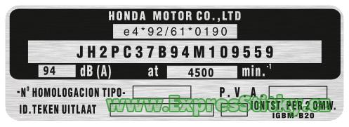 výrobní štítek Honda
