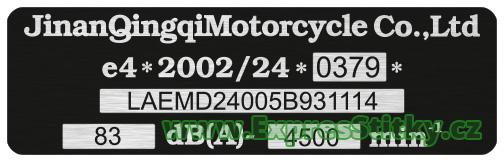 výrobní štítek Honda CRM 250
