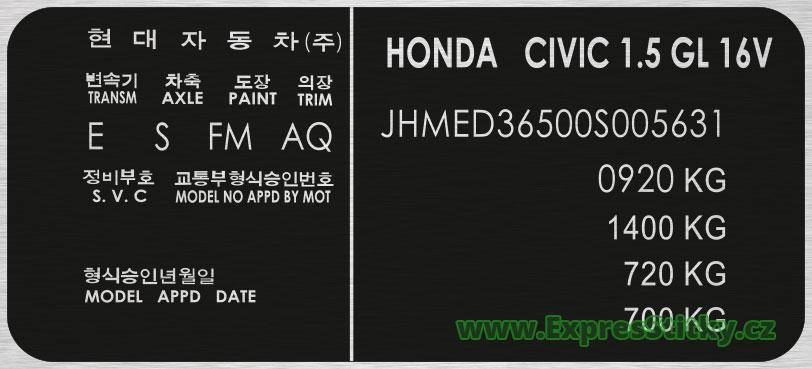 Výrobní štítek Honda Civic
