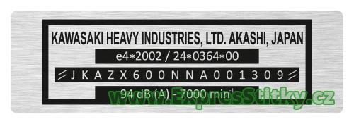 výrobní štítek Kawasaki