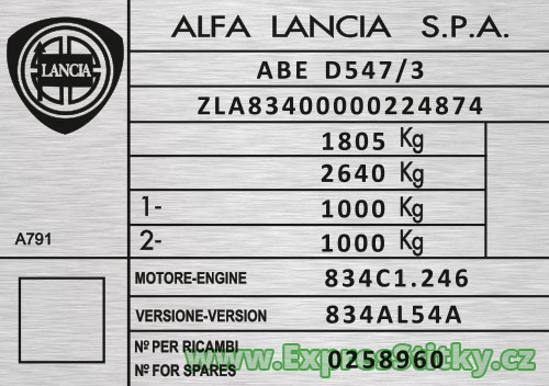 Výrobní štítek Lancia Thema