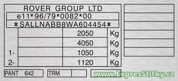 Výrobní štítek Land Rover Freelander