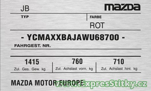 Výrobní štítek Mazda 121