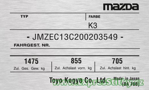 Výrobní štítek Mazda MX 3