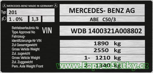 Výrobní štítek Mercedes W140
