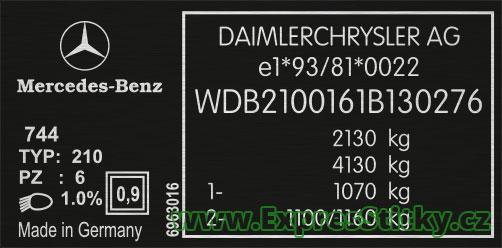 Výrobní štítek Mercedes W210