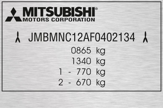 Výrobní štítek Mitsubishi