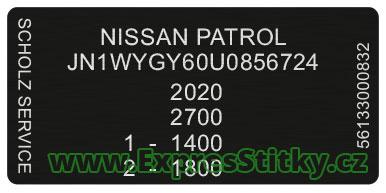 Výrobní štítek Nissan Patrol