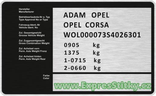 Výrobní štítek Opel Corsa