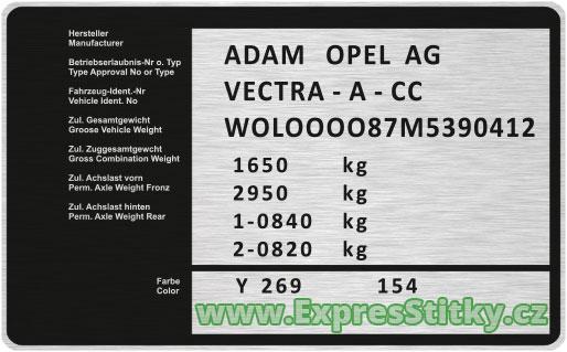 Výrobní štítek Opel Vectra