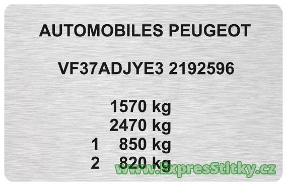 Výrobní štítek Peugeot 306