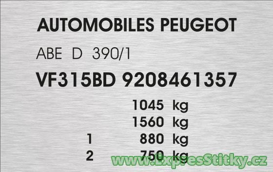 Výrobní štítek Peugeot 405