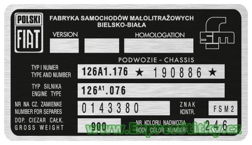 Výrobní štítek Polski Fiat