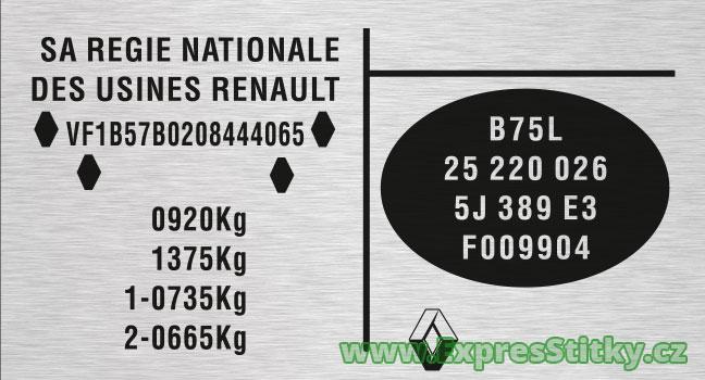 Výrobní štítek Renault Clio