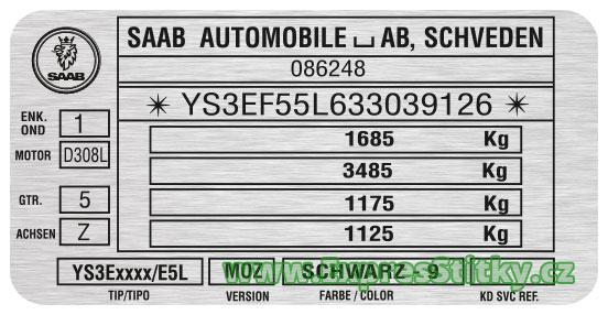 Výrobní štítek SAAB 9-5