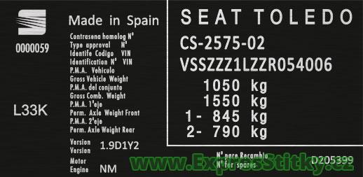 Výrobní štítek Seat Toledo