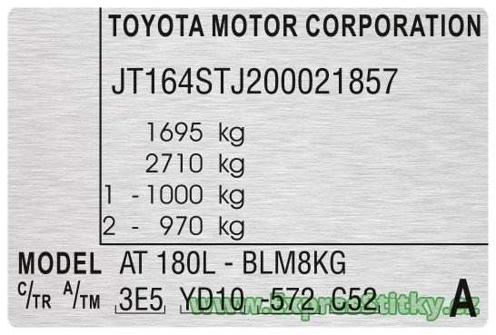 Výrobní štítek Toyota Celica