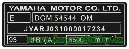 Yamaha 1 - výrobní štítek