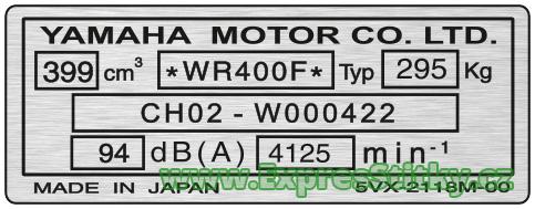 Yamaha 3 - výrobní štítek
