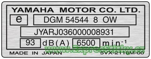 Yamaha - výrobní štítek