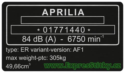 Výrobní štítek Aprilia AF1