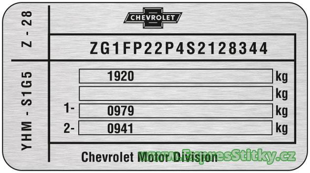 Výrobní štítek Chevrolet