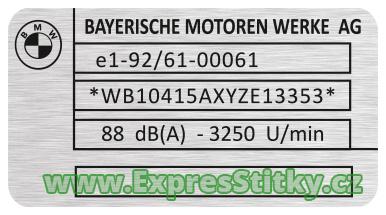 výrobní štítek na motorku BMW