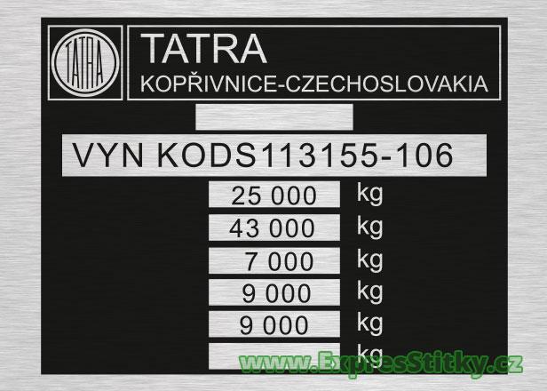 Výrobní štítek Tatra